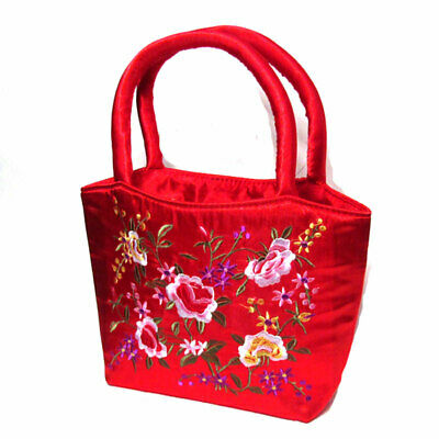 RED SILK BROCADE TOTE BAG Brocade Red Bag