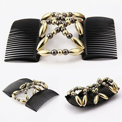 - Bead Stretchy Women Hair Combs Double Magic Slide Metal Comb Clip Hairpins