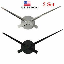 2 Set Large DIY Wall Clock 16-1/2 Long Clock Hands Quartz Movement Silver Black