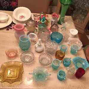 turquoise/white /blue Hobnail glass