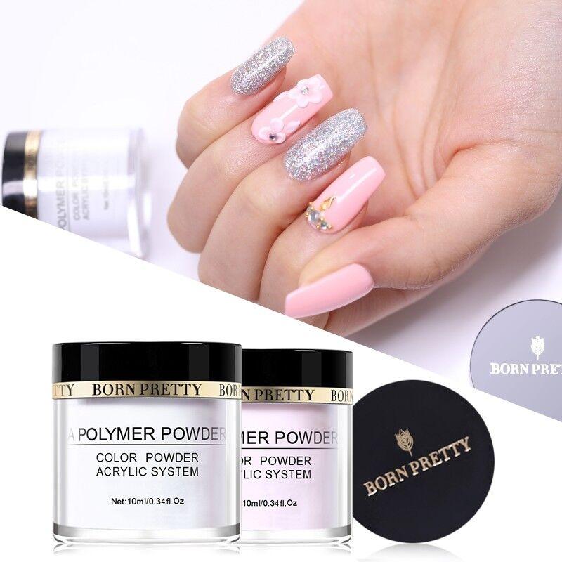 BORN PRETTY 10ml Acrylic Powder Nail Tips Extension Pink Whi
