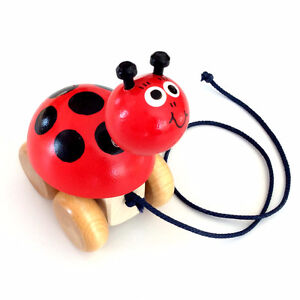 NEW  Miss Ladybird, wood pull toy NEW