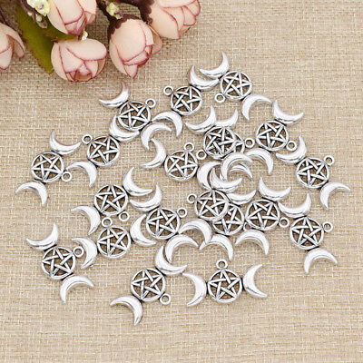 1/20 Pcs Triple Moon Goddess Pendant for Necklace Moon Star Silver Charms Gifts Goddess Star Necklace