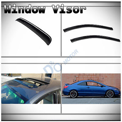 - 3pcs Front Vent Shade Window+Sun/Moon Roof Visors Fit 06-11 Civic 2-Door Coupe