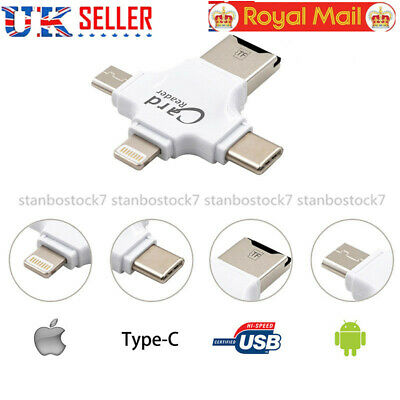 4 in 1 USB OTG To USB 2.0 Adapter SD/Micro SD Card Reader For iPhone iMac iPad