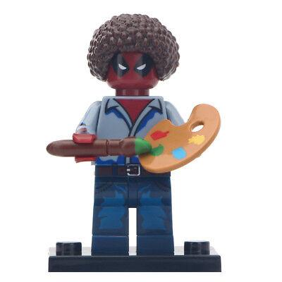 NEW Bob Ross Deadpool - Marvel Comics Lego Moc Minifigure Gift For Kids