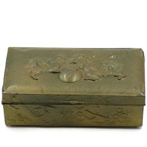 Vintage Pekingese Dog Metal Embossed Jewelry Keepsake Box Hinged Lid Wood Lining