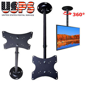Black Swivel TV LCD LED Ceiling Mount Bracket for Screen 17 21 22 24 27 28 32 37