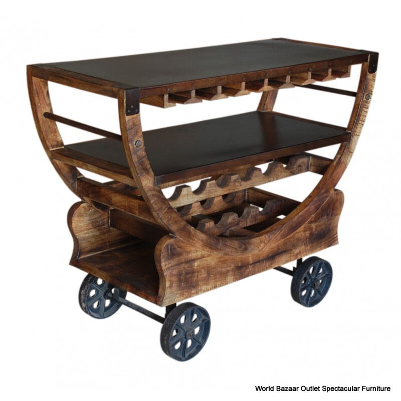 48 long bar cart wine rack rustic bronze wheels solid. Black Bedroom Furniture Sets. Home Design Ideas