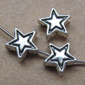 25pc Retro Tibetan Silver 2-Sided Five-pointed Star Spacer Beads Findings PJ0129