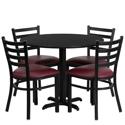 Restaurant Table Chairs 36 Black Laminate With 4 Ladder Metal Burg Vinyl Seat