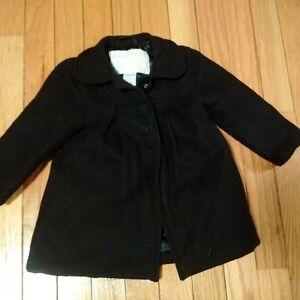 Girl's Black Spring Coat - 12-18 months