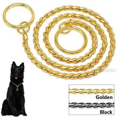 Snake Chain Dog Show Collars Heavy Metal P Choke Collar Pet Training Gold Black ()