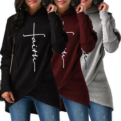USA Ladies Hoodie Women's Sweatshirt Faith Print Long Sleeve Pullover Jumper Top