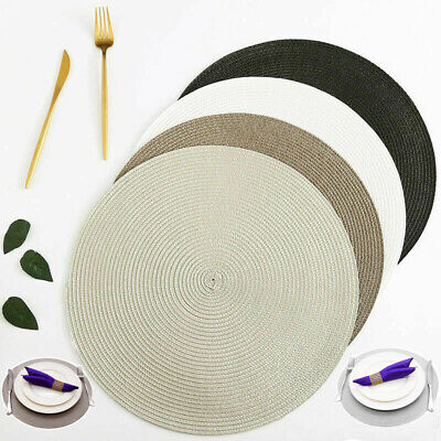 New Jacquard Beaded Weaved Non Slip Dining Round Table Place Mats Set of 4 6 8
