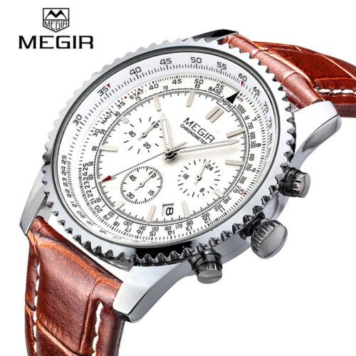 $21.71 - Top Brand MEGIR Luxury Mens Watches Casual Quartz Sport Wristwatch Leather Strap