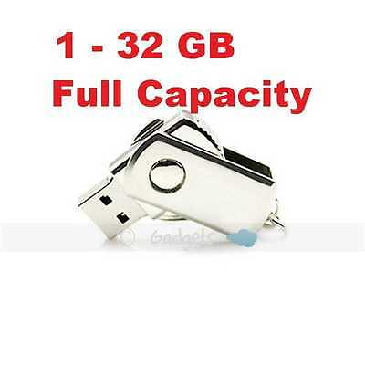USB 2.0 Flash Memory Thumb Stick Drive Fold Metal 1GB 2GB 4GB 8GB 16GB 32G FULL
