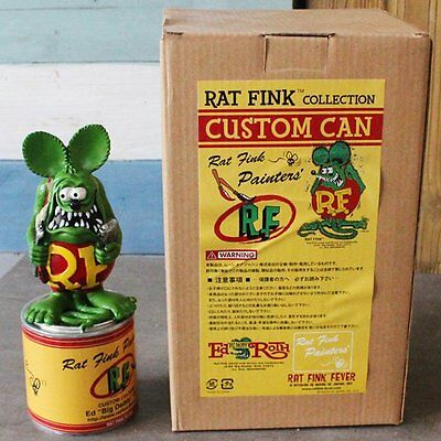 "8"" Rat Fink Collection Paint Custom Can Painters' Statue Figure Green Ed Roth"