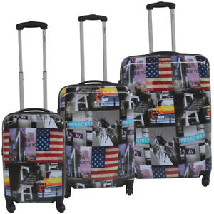 New 3 piece hard sided printed Polycarbonate luggage set