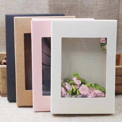 Diy Paper Box With Window White Black Kraft Paper Gift Box Cake Packaging 10pcs