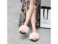 DAYMISFURRY - Fox Fur Slides - Rose Cloud