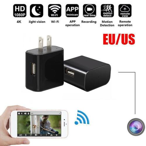 1080P HD WIFI Camera Wall Mini Charger USB Nanny Cam US/EU P