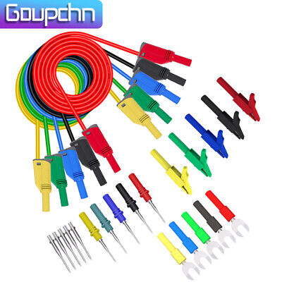 Goupchn 5pcs Banana Plug Silicone Test Leads 4mm Fully Insulated Safety Shrouded