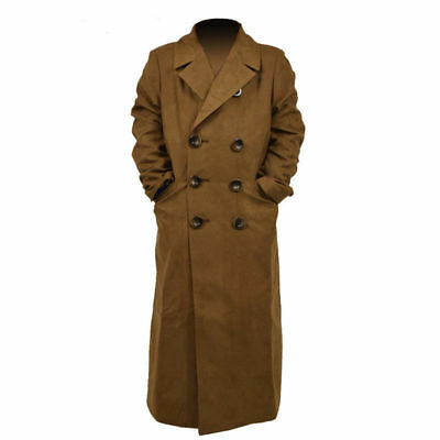Hot! Doctor Who 10th Brown Long Coat Trench Coat Jacket Cosplay Costume MM.1120