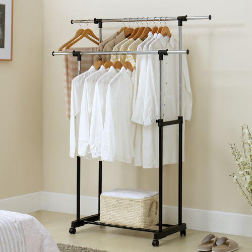 "32"" Adjustable Rolling Clothes Rack Double Bar Hanging Garme"