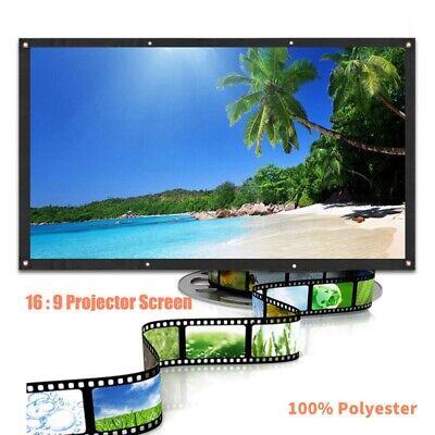 """60-120"""" Portable Foldable Projector Screen W/ Hooks 16:9 HD"""