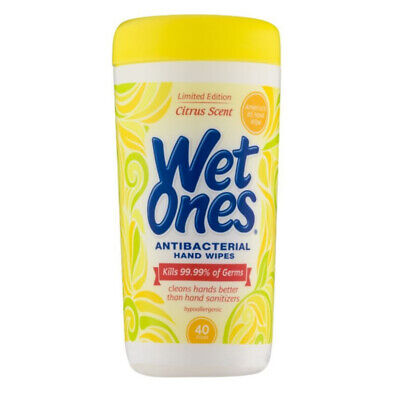 WET ONES Antibacterial Hand Wipes, Citrus 40 ea (Pack of (Antibacterial Wipes)