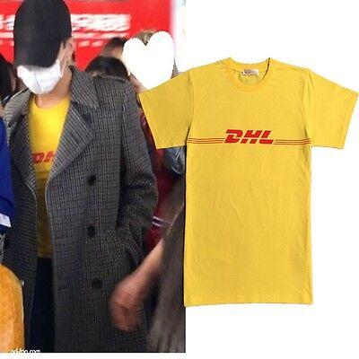 Kpop Bigbang G Dragon Same Style Dhl Letter Printing Yellow Short Sleeve T Shirt