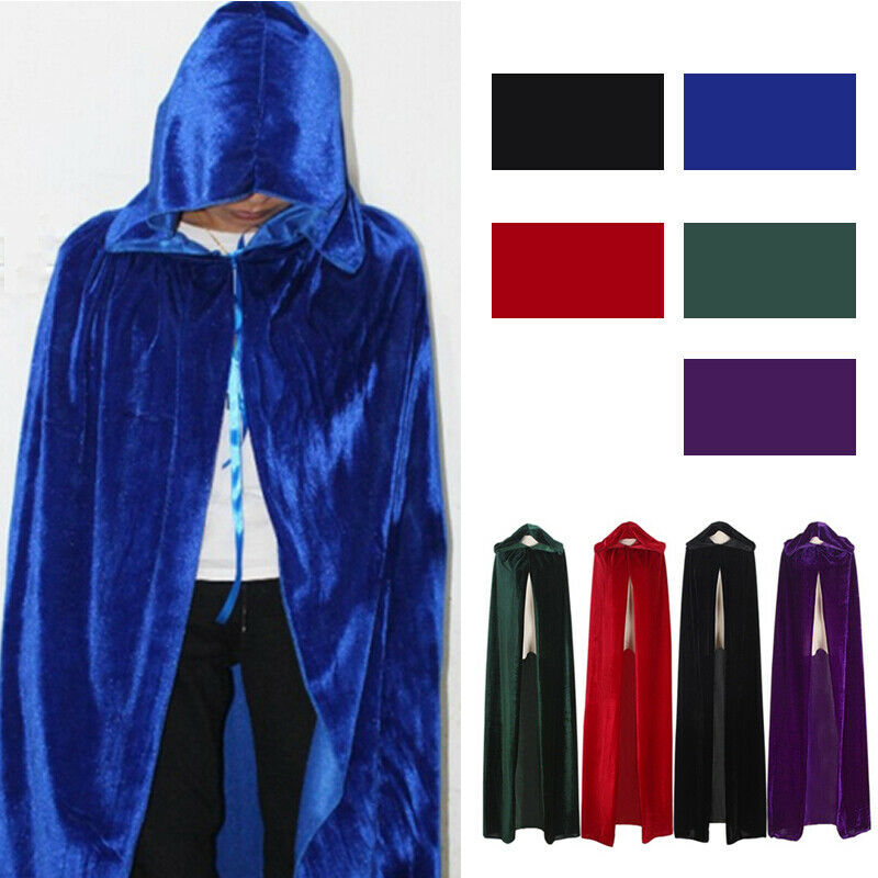 Flannel Gothic Hooded Velvet Cloak Gothic Wicca Robe Medieval Halloween Party CA