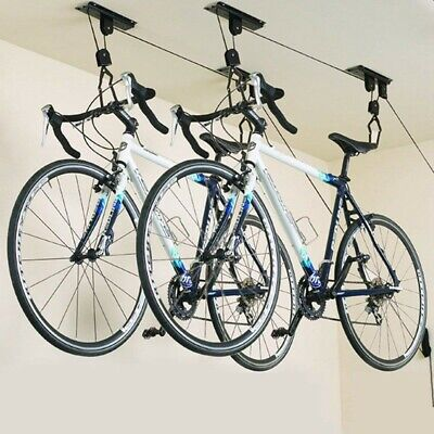 2 PACK Bike Bicycle Lift Ceiling Mounted Hoist Storage Garage Hanger Pulley Rack Ceiling Bike Rack