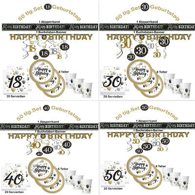 18. 30  40  50  60. Geburtstag Happy Birthday Party 50 tlg. Set Party Teller etc