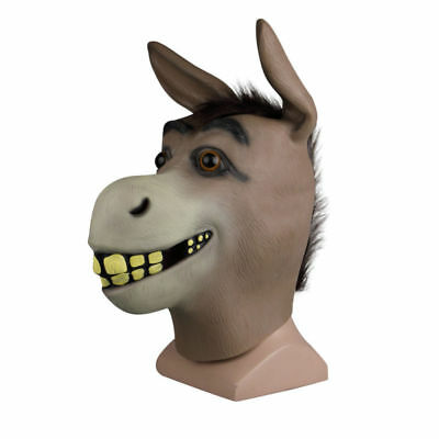 Halloween Happy Donkey Animal Mask Full Head Latex Shrek Cosplay Costume Props - Shrek Donkey Halloween Costume