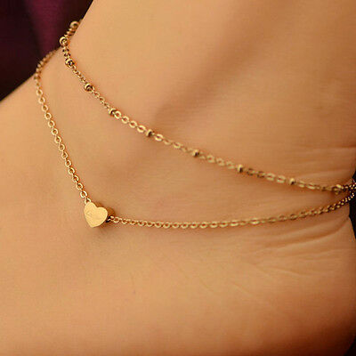 1Pc Sexy Gold Tone Love Heart Ankle Bracelet Double Layer Chain Foot Anklet Nice