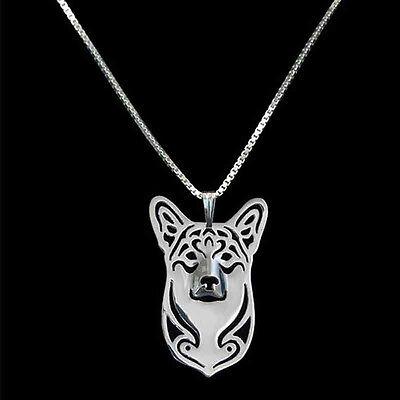 Artistic Silver Plated Pembroke Welsh Corgi Dog Charm Necklace Pendant Gift