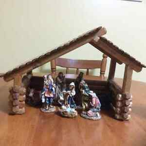9 piece nativity set with manger