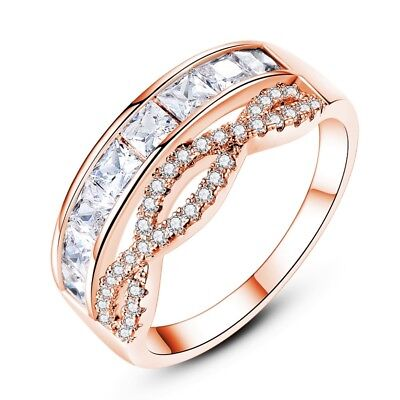 Cubic Zirconia Princess Cut Channel-Set 18K Rose Gold Filled Crossover Band Ring