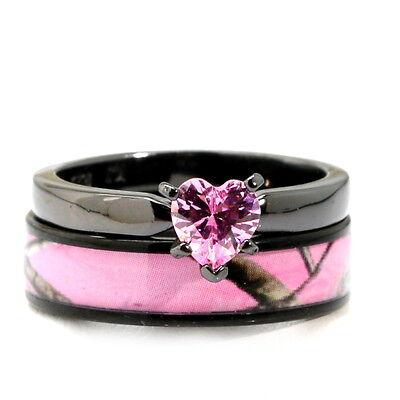Black Plated Pink Heart CZ CAMO WEDDING RINGS Bridal Engagement (Heart Wedding Set)