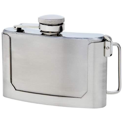 BELT BUCKLE FLASK 3oz Secret Stainless Steel Screw Cap Hip Pocket Carry Liquor
