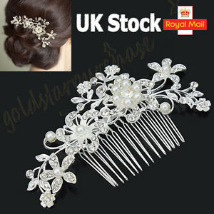 New Bridal Wedding Flower Crystal Rhinestones Diamante Pearls Hair Clip Comb UK