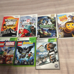 4 wii games and 3 X box 360 games for sail