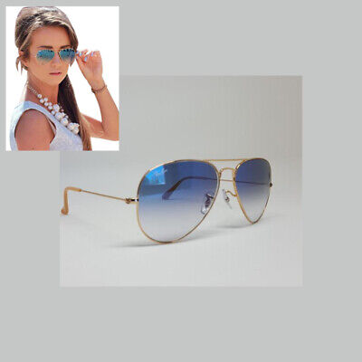 Ray-Ban Aviator Light Blue Gradient Gold Frame RB3025 001/3F 58 - (Ray Ban Blue)