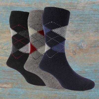 3 Pairs of Men's Argyle Wool Cashmere Socks - Ethan ()