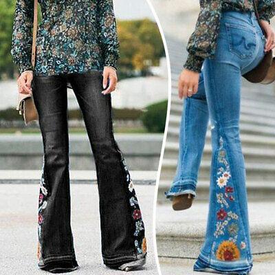 US Women Boot Cut Denim Jeggings Trouser Jeans Wide Leg Flare Bell Bottom Pants Boot Cut Flare
