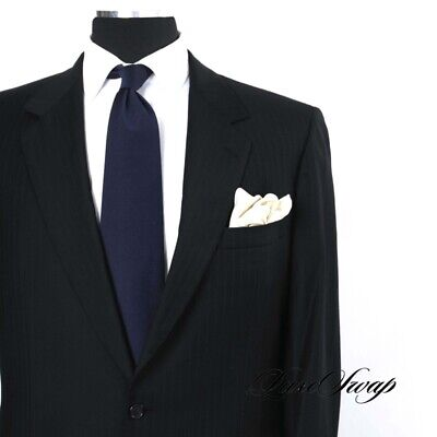 LUSTROUS Brioni Made in Italy Midnight Blue Rust Jacquard Pinstripe Suit 44 L NR