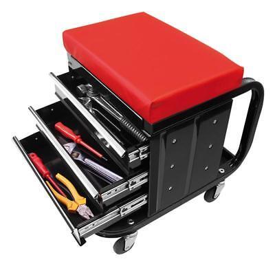 Stuhl fahrbar Hocker Werkstatt Werkzeugwagen Rollbar Metall 3 Schubladen 135 kg