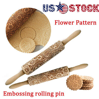 Wooden Rolling pin. Embossing engraved dough roller for cookies. Flower pattern - Dough Rollers